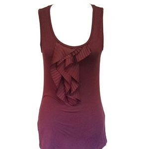 Wine Cascading Ruffle Tank Top Ann Taylor Small